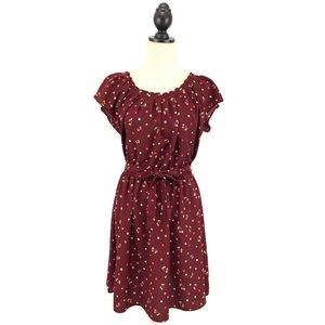 Lauren Conrad Red Cherry Print Pleated Dress Large